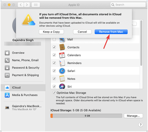 remove icloud from mac